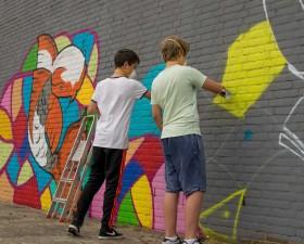 Graffiti-kunst aan de Numanstr..